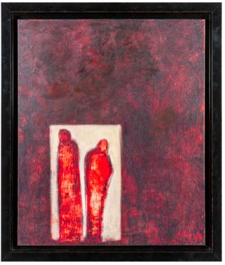toile noire rouge cadre