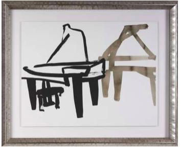 cadre dore encadrement piano noir et dore
