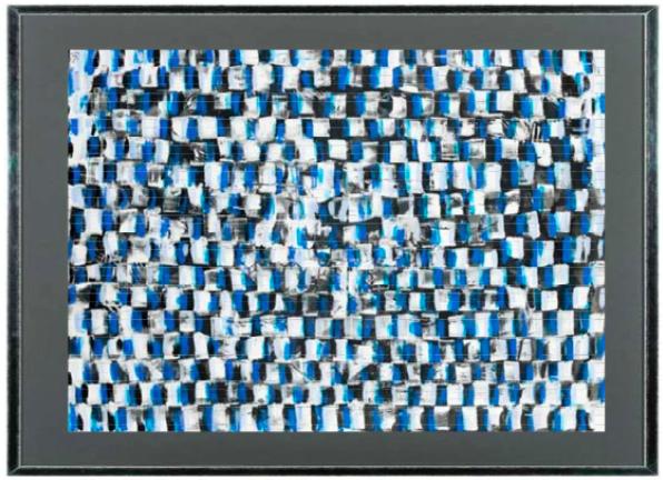 cadre bleu baguette marge grise
