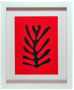 Cadre blanc sujet rouge