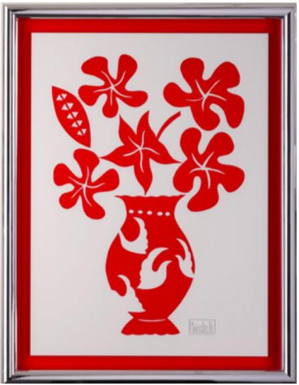 cadre fond rouge baguette argent