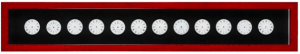 cadre rouge fond noir rond blanc