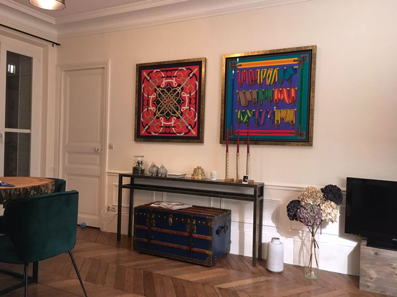 Clairance de 60% Nouveaux produits belle et charmante Encadrement de carrés Hermès pour décoration murale - La ...
