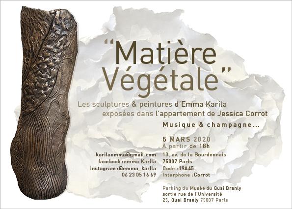 """Exposition """"Matière végétale"""" d'Emma Karila, cliente La Maréchalerie"""